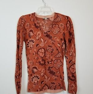 Loft orange floral print cotton sweater size xs.